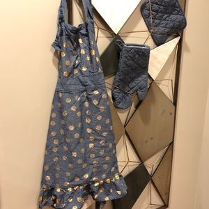 Other - 3 piece denim / gold dot apron set